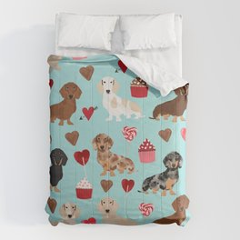 Dachsund dachsie doxie valentines day valentine hearts love cupcakes cute dog gifts Comforters