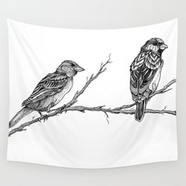 Two Sparrows by Sketchy Reputation Wall Tapestry