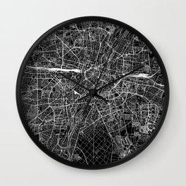 Munich Black Map Wall Clock