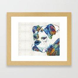Colorful English Bulldog Art By Sharon Cummings Framed Art Print