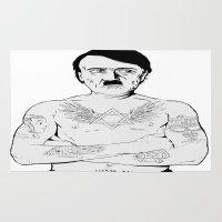 jewish Area & Throw Rugs featuring Adolf Hitler Jewish Tattoo by Jacinta Stokes