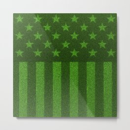 The grass and stripes / 3D render of USA flag grown from grass Metal Print