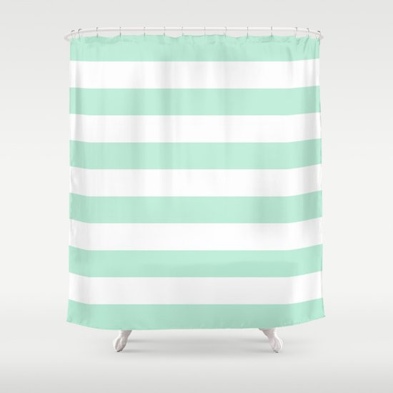 mint green shower curtain. Stripe Horizontal Mint Green Shower Curtain by Beautiful Homes