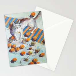 cat and mandarines Stationery Cards