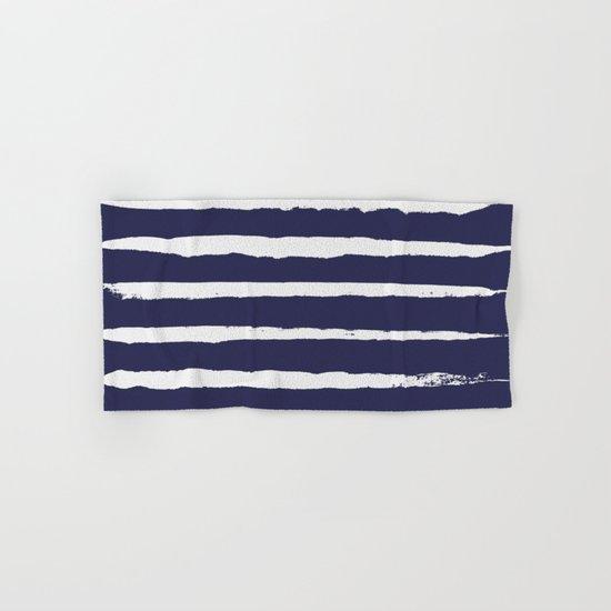 Irregular Hand Painted Stripes Dark Blue Hand & Bath Towel