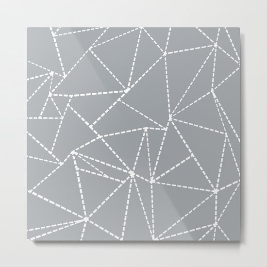 Abstract Dotted Lines Grey Metal Print