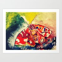 moth Art Prints featuring Moth by Hilary Dow
