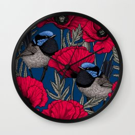 Fairy wren and poppies Wall Clock