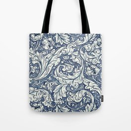 William Morris Navy Blue Botanical Pattern 3 Tote Bag