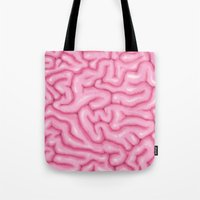 brain Tote Bags featuring Brain by Oh Monday