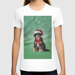 Drawing puppy Bernese Mountain Dog in red hat of Santa Claus T-shirt