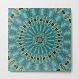 Turquoise Blue Plumage Mandala Kaleidoscope Pattern Metal Print