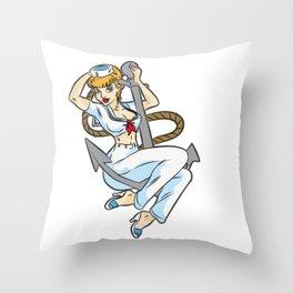 HEY SAILOR Sexy Girl navy Anchor Maritime Boat Throw Pillow