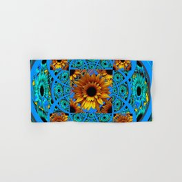 AWESOME BLUE & GOLD SUNFLOWERS  PATTERN ART Hand & Bath Towel