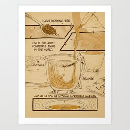 "Cafe Suada Cup 1 Page: ""Tea is Wonderful"" Art Print"