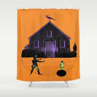 house Shower Curtains featuring HOUSE by MAR AMADOR
