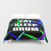 drum Duvet Covers featuring Eat, Sleep, Drum by VXDESIGNS