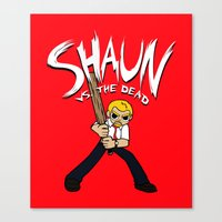 shaun of the dead Canvas Prints featuring Shaun vs. the Dead by HuckBlade