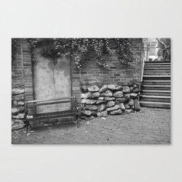 Brickwall and Bench Canvas Print