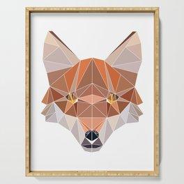 Fox Forest Wild Life Animal Design Polygonal T--shirt Design Symmetrical Triangular Mathematics Serving Tray