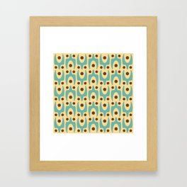 Mid Century Modern Abstract Pattern 542 Turquoise Yellow and Brown Framed Art Print