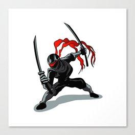 cartoon ninja in action Canvas Print