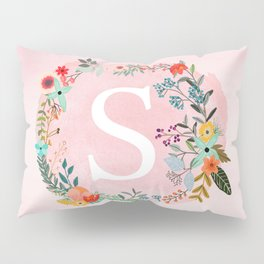 Flower Wreath with Personalized Monogram Initial Letter S on Pink Watercolor Paper Texture Artwork Pillow Sham