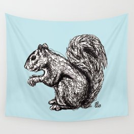 Blue Woodland Creatures - Squirrel Wall Tapestry