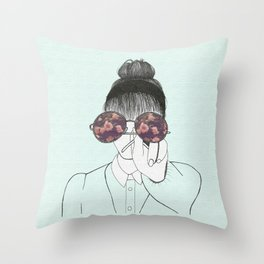 The girl with the glasses Throw Pillow