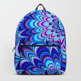 Neon blue striped mandala Backpack