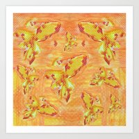 My little golden fishes Art Print