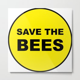 Save The Bees - Rounded Metal Print