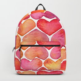 Oragne and Pink Watercolor Love Heart Pattern Backpack