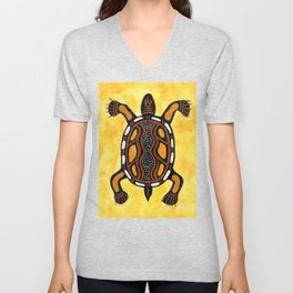 Turtle - Aboriginal Art Painting Unisex V-Neck