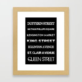 Toronto Streets Side 1 Framed Art Print