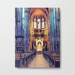 Vienna church watercolor Metal Print
