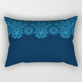 Retro Vintage Blue lace on dark blue background Rectangular Pillow