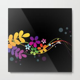 Cut Paper Flowers and Ferns on Black  15K Metal Print