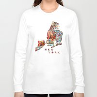 new york map Long Sleeve T-shirts featuring new york map  by bri.buckley