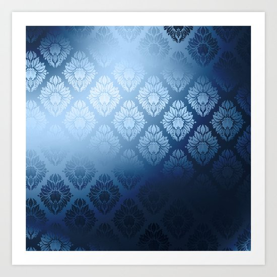 """Navy blue Damask Pattern"" by marcanton"