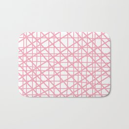 Texture lines pink and white Bath Mat