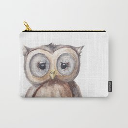 Woodland Animal, Owl, Head, Watercolor, Nursery Carry-All Pouch