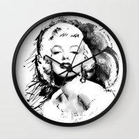 monroe Wall Clocks featuring Monroe by Ron Jones The Artist