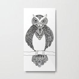 Intricate night owl doodle Metal Print