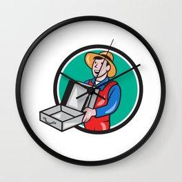 Man Holding Empty Open Suitcase Circle Cartoon Wall Clock