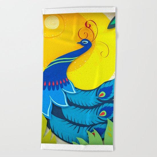 Peacock Paper Art Beach Towel
