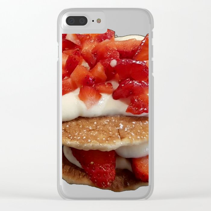 pancakes_strawberries_and_whip_cream Clear iPhone Case