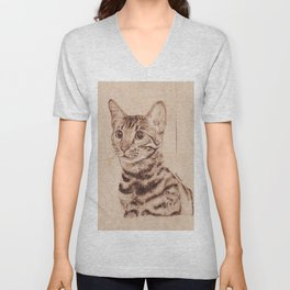 Bengal Cat Portrait - Drawing by Burning on Wood - Pyrography art Unisex V-Neck