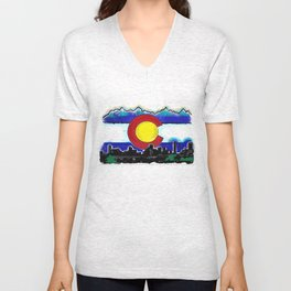 Denver Colorado artistic skyline art Unisex V-Neck
