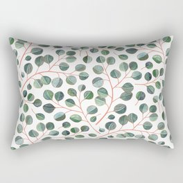 Simple Silver Dollar Eucalyptus Leaves on White Rectangular Pillow